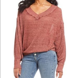 Free People Thermal V Neck Top Size S